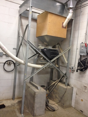 Grain mill that crushes the grain before the mash.