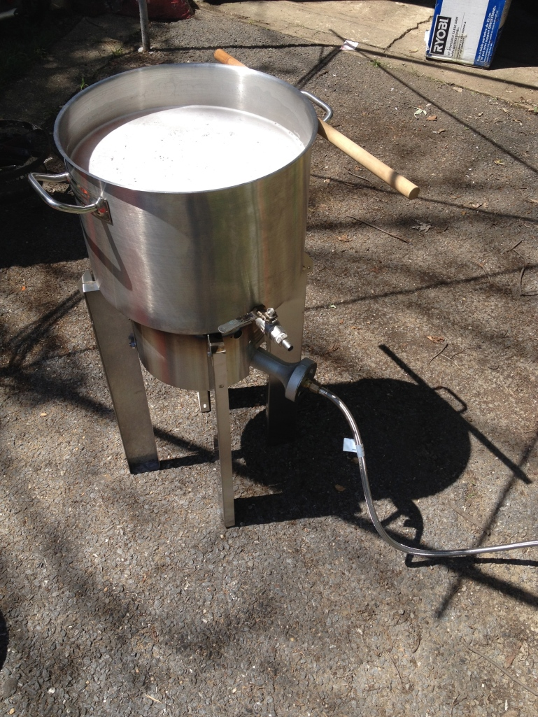 Wort boiling (maybe a wet hop Chinook saison?)